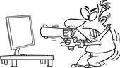 Ordinateur tir de cartoon homme — Vecteur
