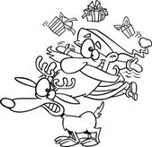 Vector of a Cartoon Christmas Santa Juggling Gifts on a Reindeer - Outlined Coloring Page — Stock Vector