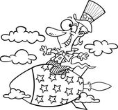 Vector of a Cartoon Uncle Sam Riding a Rocket - Outlined Coloring Page — Stock Vector
