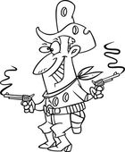 Vector of a Cartoon Shot Cowboy Black and White Outline - Outlined Coloring Page — Stock Vector