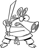 Illustration of an outlined ninja pig with sword, on a white background. — Stock Vector