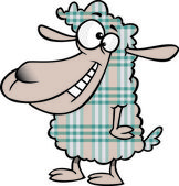 Illustration of a happy plaid sheep, on a white background. — Stock Vector