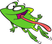 Clipart Green Happy Frog Leaping With His Tongue Hanging Out — Stock Vector