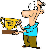 Clipart Father Proudly Holding A Worlds Best Dad Trophy Cup — Stock Vector
