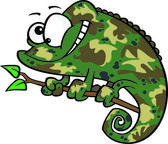 Clipart Happy Cartoon Green Chameleon Lizard With Camouflage Patterns — Stock Vector