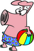 Clipart Summer Pig Holding A Beach Ball - Royalty Free Vector Illustration by Ron Leishman — Stock Vector