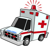 Illustration of an emergency ambulance with lit siren light, on a white background. — Stock Vector