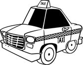 Vector of a Cartoon City Taxi Cab - Outlined Coloring Page — Stock Vector