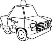 Cartoon Police Car (Black and White Line Art) by Ron Leishman — Stock Vector