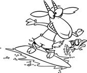 Vector of a Cartoon Fish Leaping Away from a Surfing Goat - Outlined Coloring Page — Stock Vector
