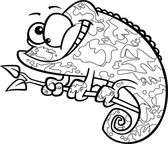 Vector of a Cartoon Happy Chameleon Lizard with Camoflauge Patterns - Outlined Coloring Page — Stock Vector