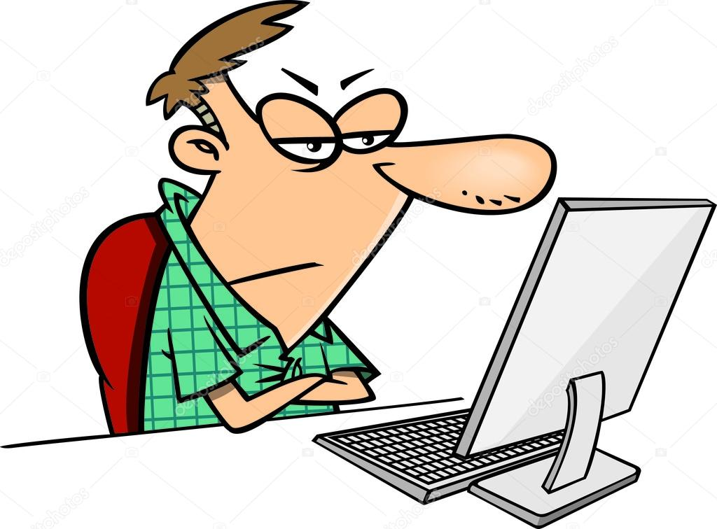 Cartoon Man Disgusted with the Internet  — Stock Vector #14002991