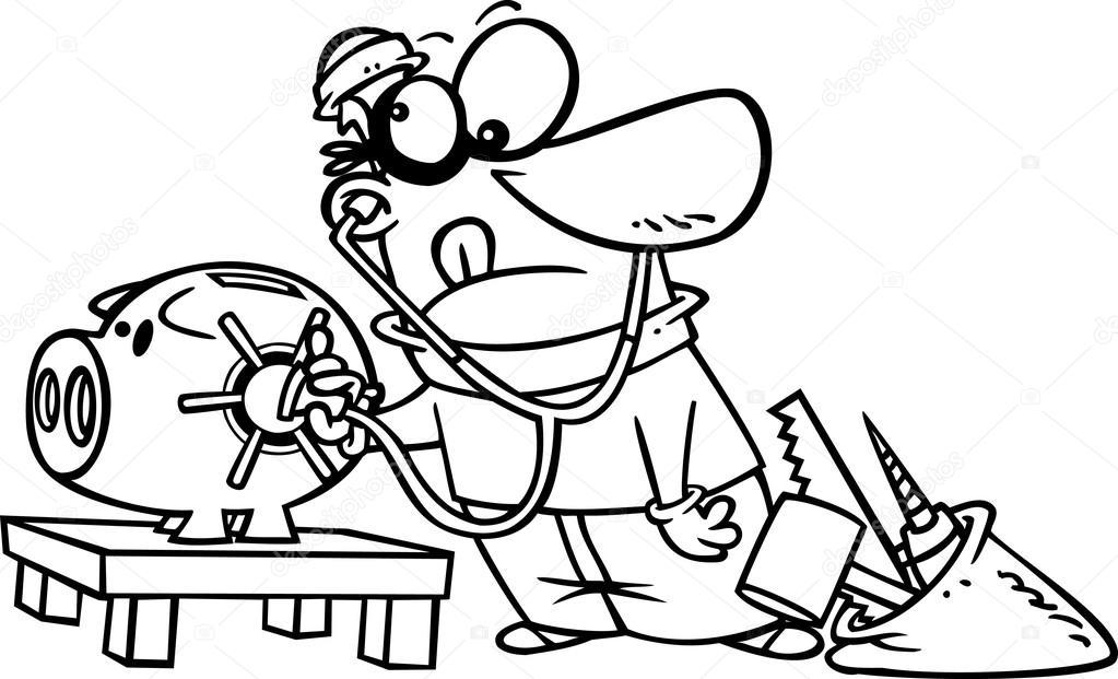 Kleurplaten Politie En Boef Vector Of A Cartoon Robber Unlocking A Piggy Bank Vault