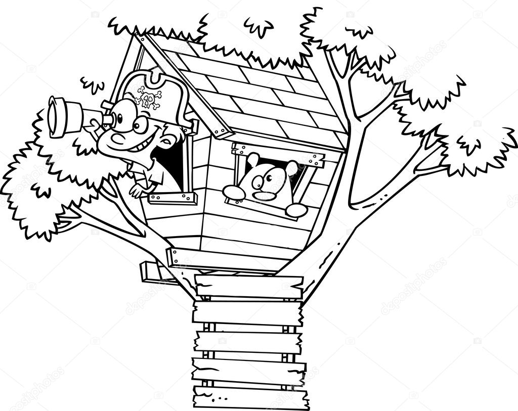 Vector Of A Cartoon Pirate Boy In His Tree House Black And