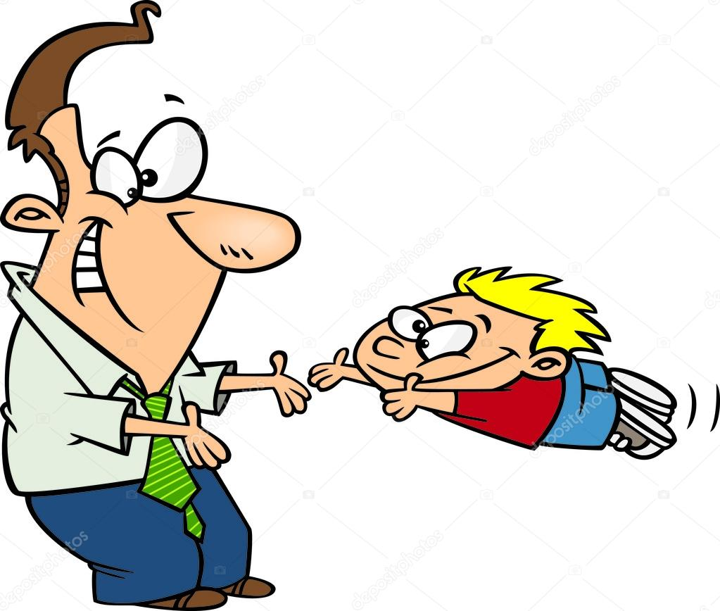 Clipart Father Greeting His Excited Son With Open Arms — Stock ...