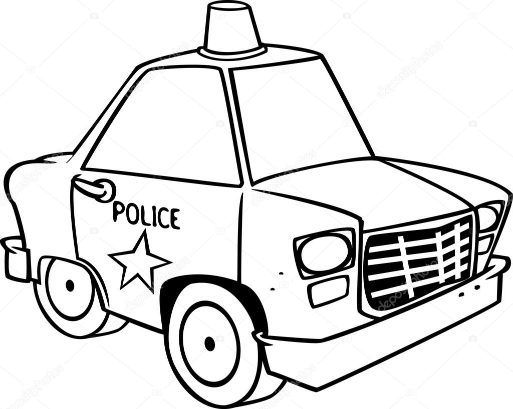Black and white line art illustration of a cartoon police car. — Stock Vector #14004880