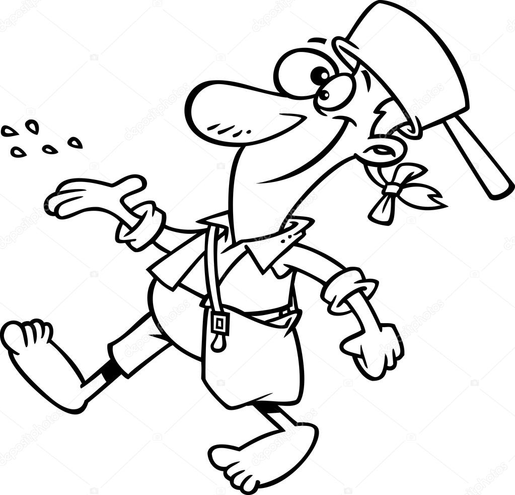 Free coloring page johnny appleseed - Outlined Johnny Appleseed Tossing Seeds Stock Vector 14005094