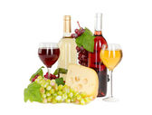 Wine glass, cheese, grapes. isolated on white background — Stock Photo