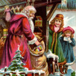 Vintage Christmas card of Santa Claus delivering gifts to two gi — Stock Photo #12418924