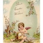 ročník velikonoční pohlednice cupid šipky a velké e — Stock fotografie