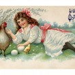 A vintage Easter postcard of a girl with a hen chicks and eggs on a farm — Stock Photo #12428786