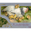 Stock Photo: Vintage Easter postcard of hen and chicks