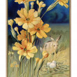 Stockfoto: Vintage Easter postcard of spring flowers rabbit and eggs