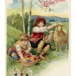 Vintage Easter postcard of two boys on Easter egg hunt — Stock Photo #12429780