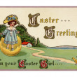 Vintage Easter postcard of little girl coming out of East — Stock Photo #12429838