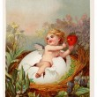 Vintage Easter postcard with cherub holding key and heart — Stock Photo #12429863