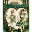 Stock Photo: A vintage St. Patricks Day card with a Irish boy and girl doing