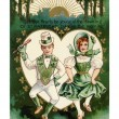 A vintage St. Patricks Day card with a Irish boy and girl doing — Stock Photo