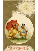 A vintage Easter postcard of a duckling and chick dressed up for — Stock Photo