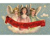 Une vintage carte postale de pâques des trois anges tenant une bannière — Photo