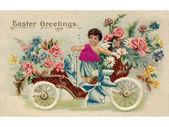 Um postal de páscoa vintage com um querubim montando um carro antigo fu — Foto Stock