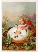 Um postal de páscoa vintage com um querubim segurando uma chave e coração — Foto Stock