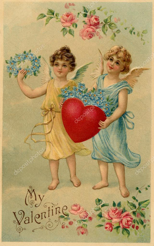 A vintage Valentine postcard with two angels holding a heart and forget-me-not flowers — Stock Photo #12429803