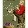 Vintage Easter postcard of basket of violets and boy playi — Photo #12430472