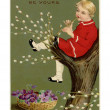 Stockfoto: Vintage Easter postcard of basket of violets and boy playi