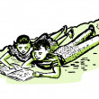 A vintage illustration of two children doing homework together — 图库照片