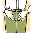 A vintage illustration of an mans midriff — Stock Photo