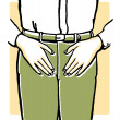 Stock Photo: Vintage illustration of mans midriff