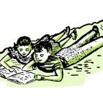 A vintage illustration of two children doing homework together — Stock Photo #12432967