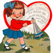 Stock Photo: Vintage valentine of girl with blowhorn