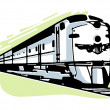 Stock Photo: Vintage illustration of speeding train