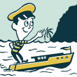 Stock Photo: A cartoon style vintage illustration of a small man in a boat