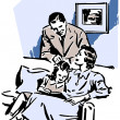 A vintage illustration of a family relaxing at home — Stock Photo
