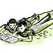 A vintage illustration of two children doing homework together — Stock Photo