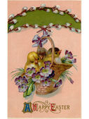 A vintage Easter postcard of a basket full of chicks and violets — Stock Photo