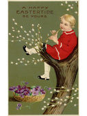 A vintage Easter postcard of a basket of violets and a boy playi — Stock Photo